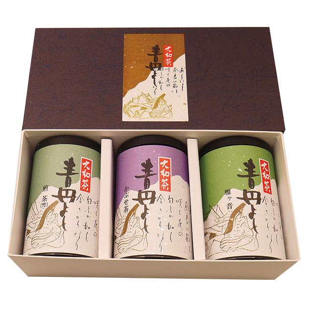 【送料込】大和茶「青丹よし」3本セット(かぶせ茶100g缶、煎茶竹印100g缶、かりがね100g缶) -大和茶販売 【メーカー直送品・代引不可】
