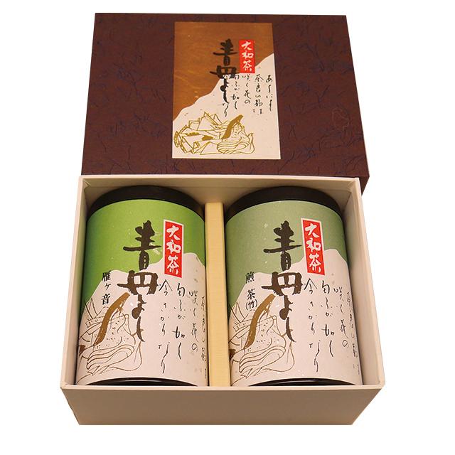 【送料込】 大和茶「青丹よし」2本セット(煎茶竹印100g缶、かりがね100g缶) -大和茶販売 【メーカー直送品/代引不可】