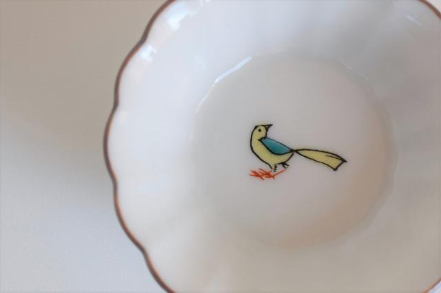 菊小鉢 小鳥