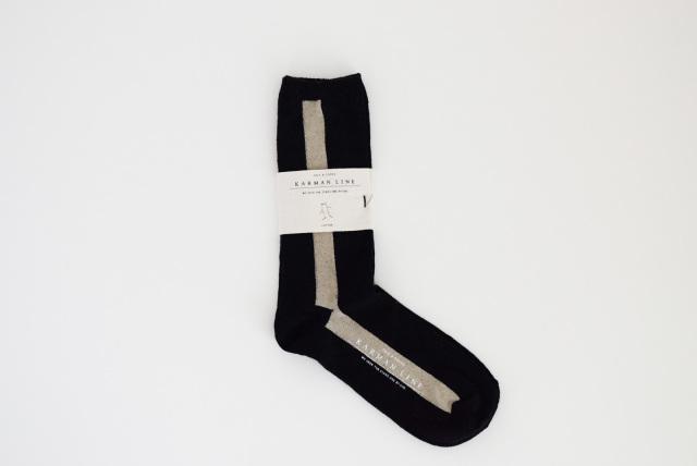 KARMANLINE 靴下 gemini ライン配色 23-25 (リネン)