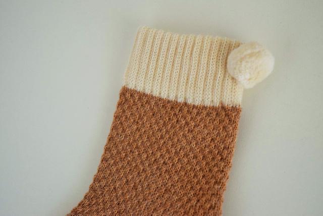 鹿の子編みのベビーくつ下