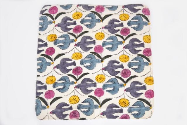 doinel ハンカチ鳥と花 カラー