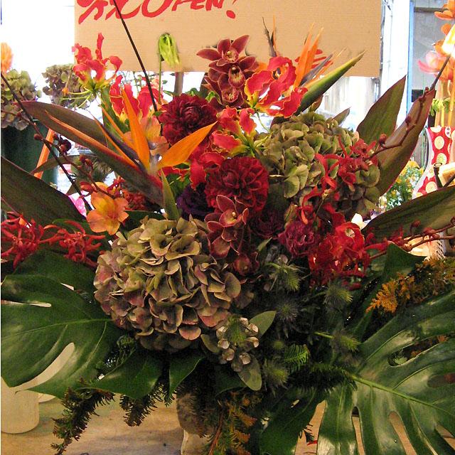 公演祝い 開店祝いの花 アレンジ装花 二子玉川の花屋 ネイティブフラワーイーダ