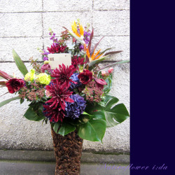 吉祥寺に贈る花 大きなアレンジメント パープルバーガンディー