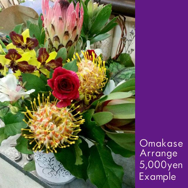お祝い花 おまかせアレンジメント5000 東京二子玉川の花屋 ネイティブフラワーイーダ