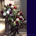開店祝いスタンド花 東京 プロテア ネイティブフラワー 紅白ダリア