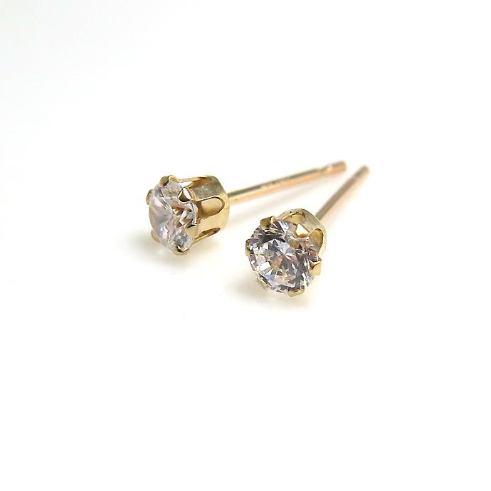 10K(10金)合成モアッサナイト・人工ダイヤモンド類似石ピアス・6本爪ポストピアス(ラウンド3mm)
