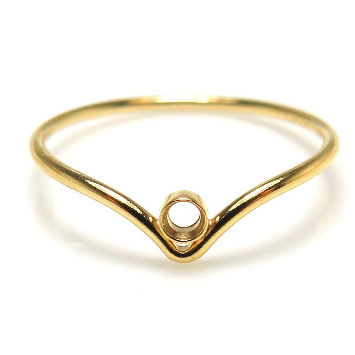 シェブロンリング(指輪)14kgfパーツ ベゼル 空枠 2mm ラウンド ゴールドフィルド (サイズ目安:9号) (1個)
