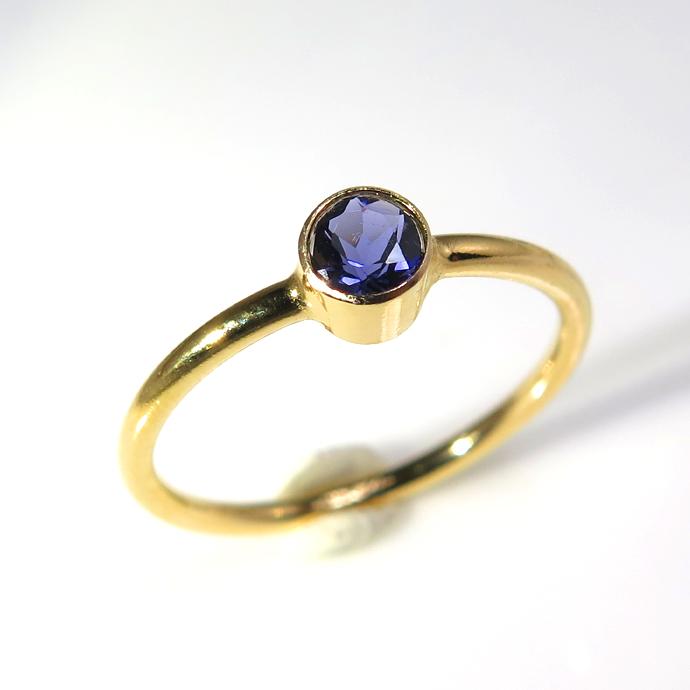 14kgf天然石リング(指輪)アイオライト ベゼル ラウンド 4mm ゴールドフィルド(1個)