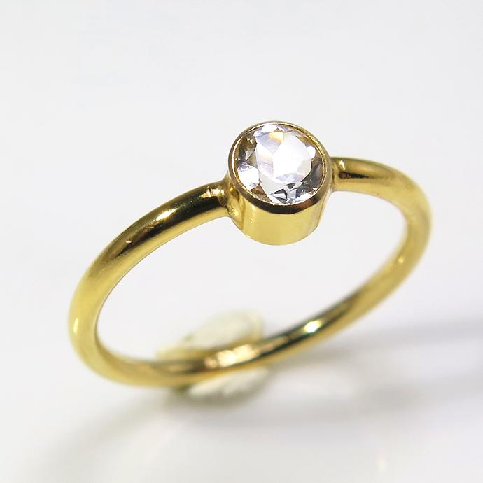 14kgf天然石リング(指輪)ホワイトトパーズ ベゼル ラウンド 4mm ゴールドフィルド(1個)
