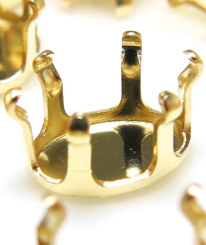 14kgf 石枠 空枠パーツ オーバル 8×6mm 6本爪 ゴールドフィルド (1個)