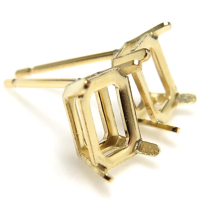 14kgfピアス 空枠 石枠 4本爪(オクタゴン・エメラルド 6×4mm)ゴールドフィルド(1個)