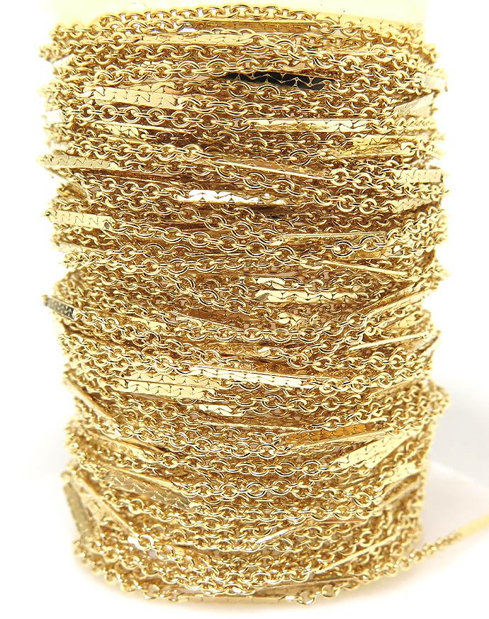 14kgfフラットバーテクスチャーチェーン(1.6mm)(20センチ)「ゴールドフィルド」(1本)