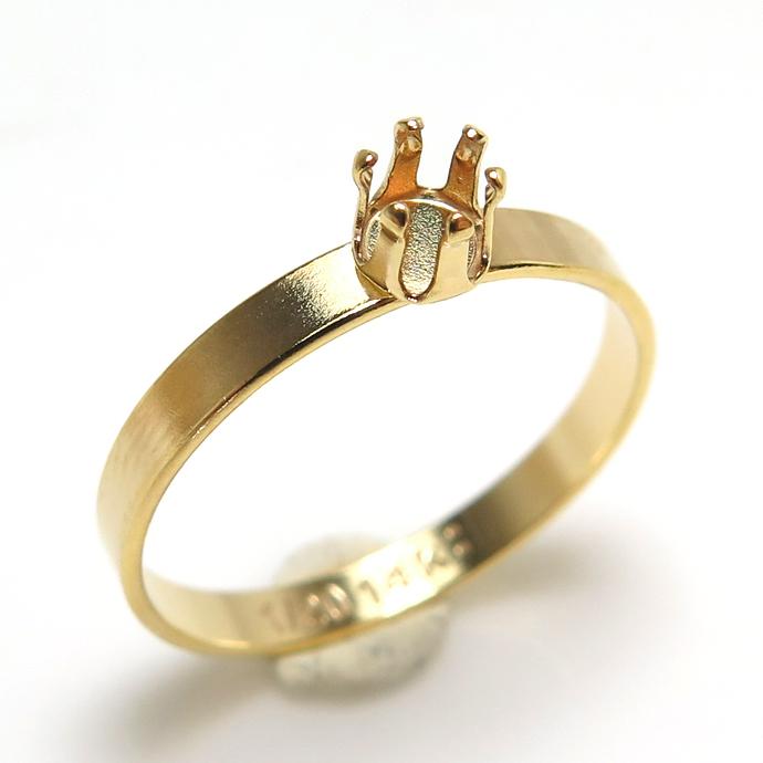 14kgf フラットリング 指輪空枠 6本爪 3mm  ラウンド (サイズ目安:9号)ゴールドフィルド(1個)