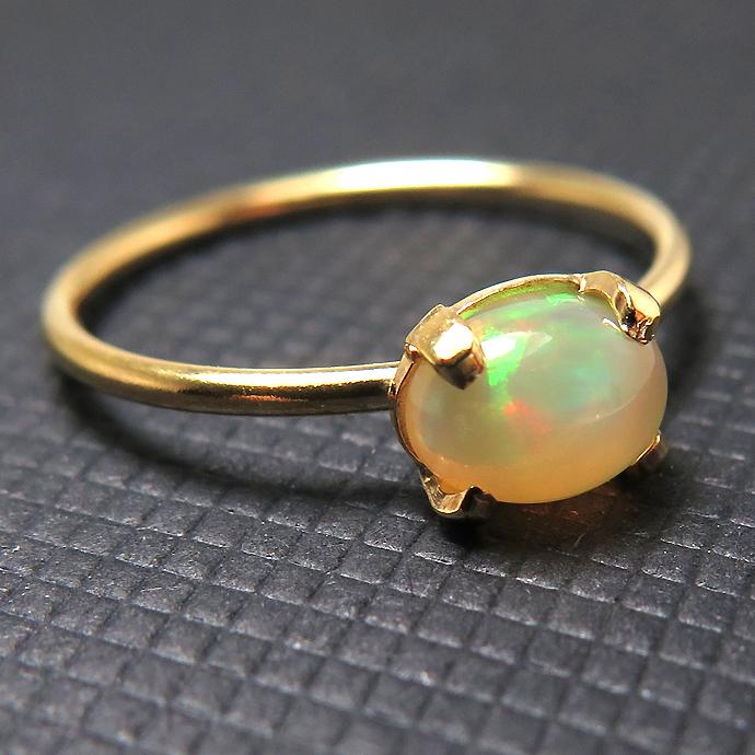 14kgf天然石リング(指輪)エチオピアンオパール 6×4mm(4本爪カボション/オーバル)ゴールドフィルド(1個)