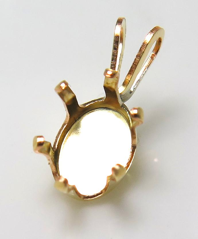 14KGF ペンダント空枠 石枠 6本爪(オーバル8×6mm)ゴールドフィルド(1個)