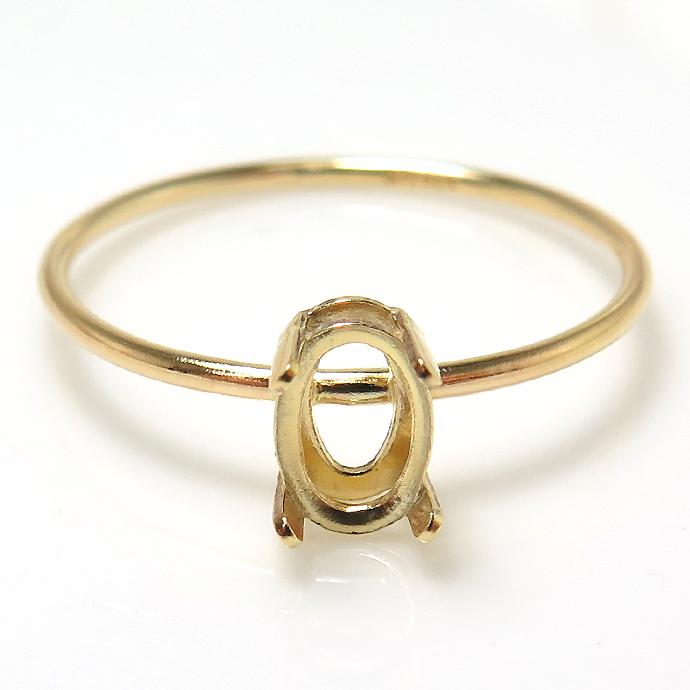 14kgfリング 指輪 空枠 リング パーツ オーバル 縦 6×4mm 4本爪 ゴールドフィルド(サイズ目安:11号) 1個