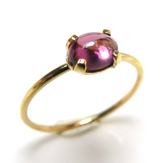 14kgf天然石リング(指輪)ロードライトガーネット<1月誕生石>(ウンバ産) 6×4mm(4本爪カボション/オーバル)ゴールドフィルド(1個)