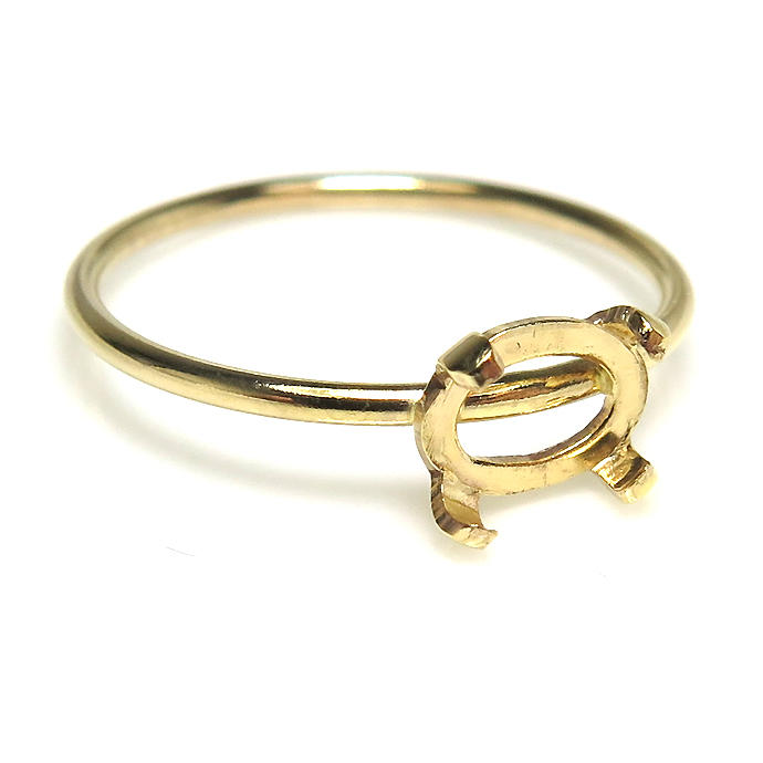 14kgfリングパーツ(指輪)4本爪カボション空枠6×4mm (横・オーバル)(サイズ目安:10号)「ゴールドフィルド」(1個)