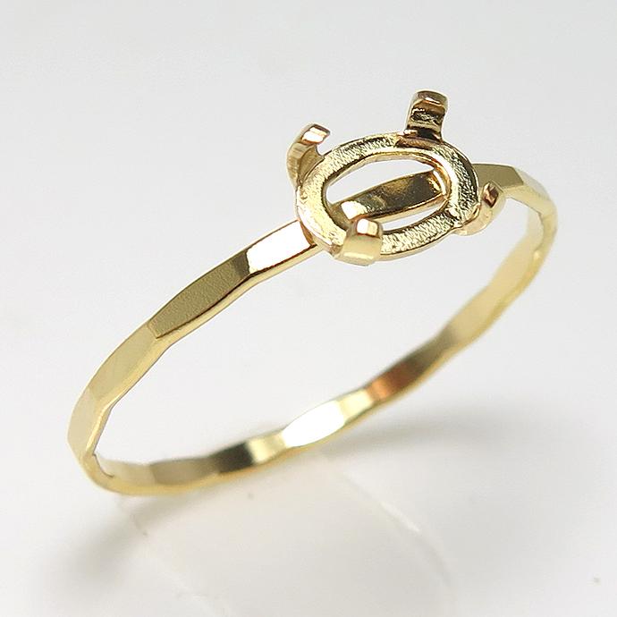 ハンマードリング 14kgf 指輪 空枠 オーバル カボション 6×4mm 横 4本爪 ゴールドフィルド (サイズ目安:11号) 1個
