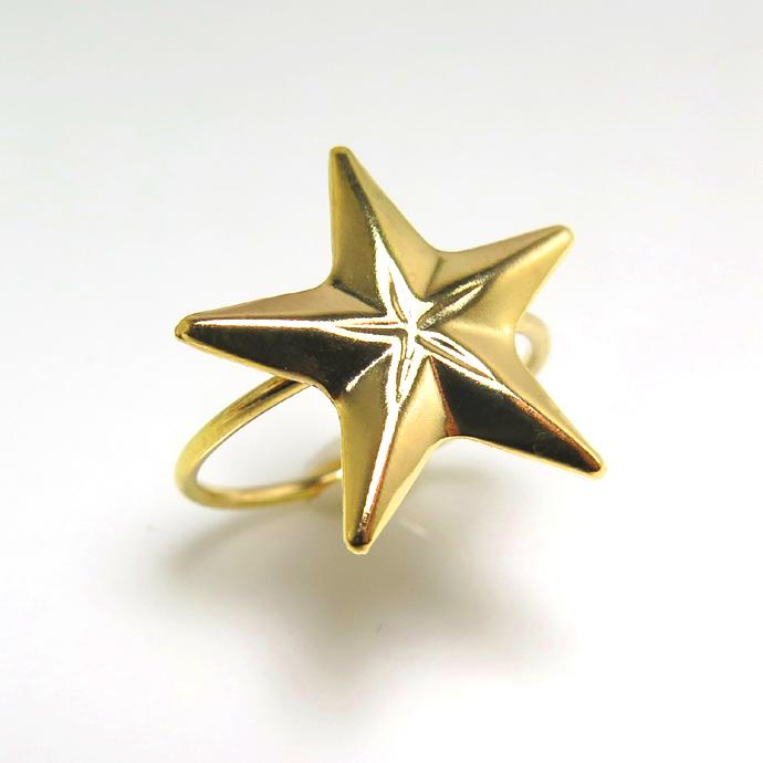 モチーフリング(14kgf指輪)(スター15mm)(サイズ目安:13号)「ゴールドフィルド」(5個)