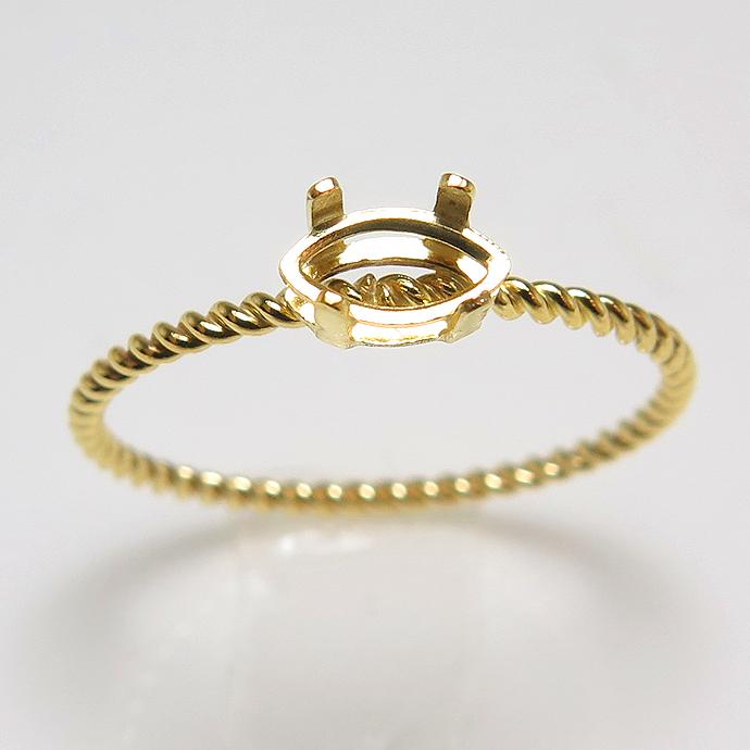 14kgf マーキス リング 指輪 ツイスト 空枠 6×3mm 4本爪 ゴールドフィルド (サイズ目安:11号) 1個