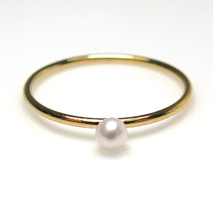 14kgfリング 淡水パール 指輪 3~3.5mm(ホワイト系)(サイズ目安:9号)ゴールドフィルド(1個)