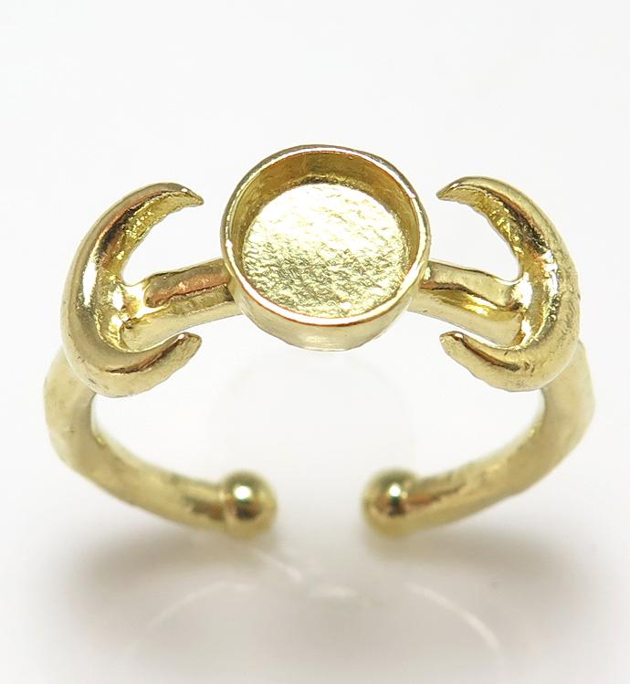 月 惑星 ムーン リング指輪 6mm空枠(カボション用)真鍮ブラス・ゴールドカラー(2個)