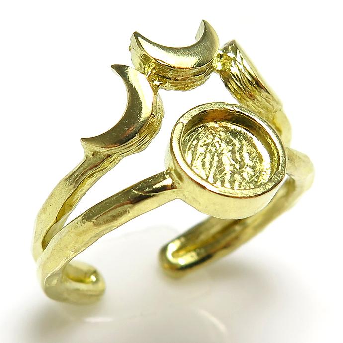 惑星 3ムーン月 リング指輪 6mm空枠(カボション用)真鍮ブラス・ゴールドカラー(2個)