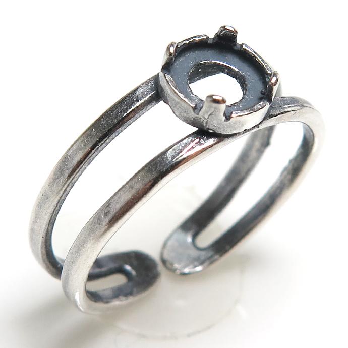 銀古美 指輪 リング 空枠4本爪 カボション用(ラウンド・5mm)(真鍮ブラス・アンティークシルバー) 2個