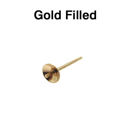直結ピアスポスト・突き刺しタイプ(芯立・皿付)【4mm】「14kgf(ゴールドフィルド)」(50ペア/100個)