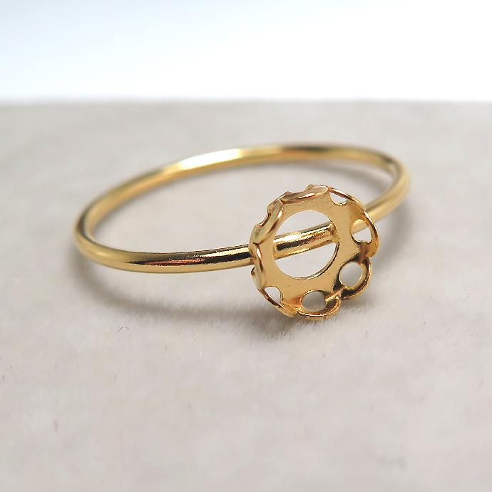 リングパーツ(指輪)ベゼル・カボション空枠5mm(ラウンド)(サイズ目安:13号)「14kgf(ゴールドフィルド)」(1個)