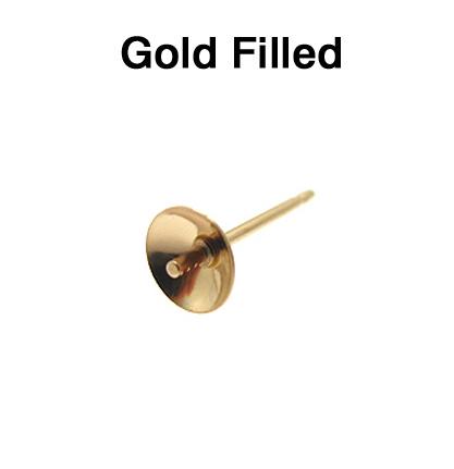 14kgf 直結ピアスポスト・突き刺しタイプ(芯立・皿付)【8mm】ゴールドフィルド(2ペア)