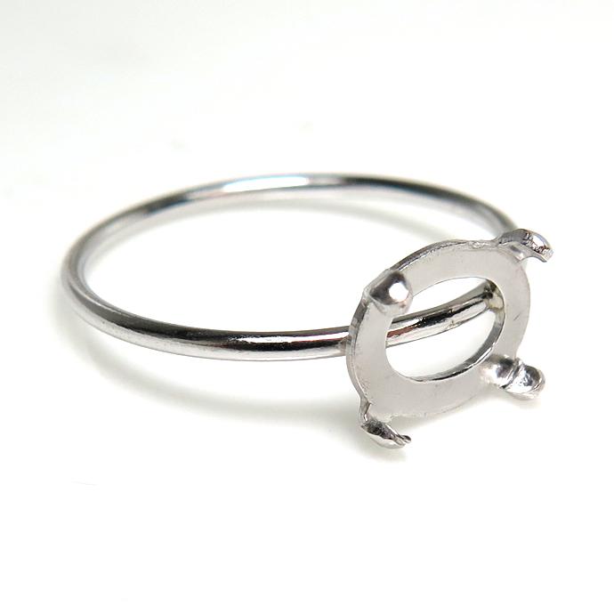 シルバーリングパーツ(指輪)カボション空枠 8×6mm・4本爪(横 オーバル/線径1mm)「SV925」(サイズ目安:11号)(1個)