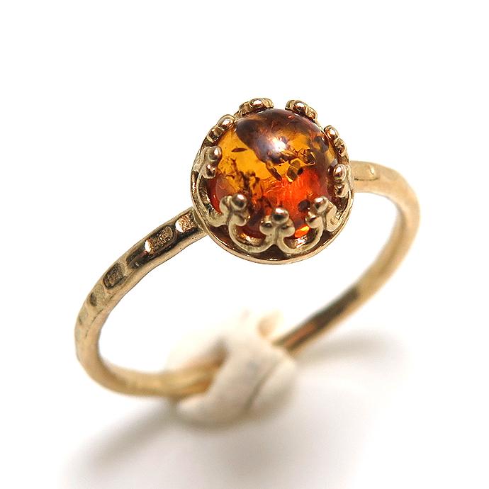 バルティックアンバー 琥珀 バルト海沿岸部 指輪 リング 天然石 ハンマード ラウンド6mm 真鍮ブラス・ゴールドカラー/1個