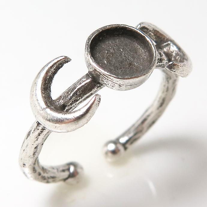 月 惑星 ムーン リング 銀古美 指輪 空枠 6mm(カボション用)真鍮ブラス・アンティークカラー(2個)