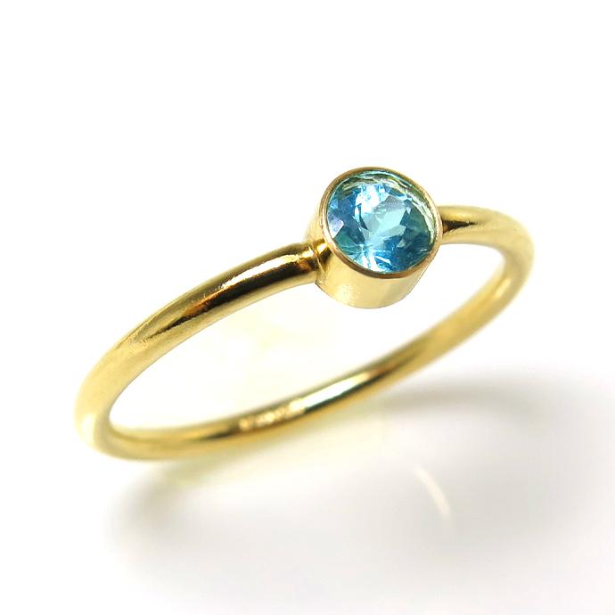 アパタイト リング(指輪)14kgf天然石 ベゼル ラウンド 4mm ゴールドフィルド(1個)