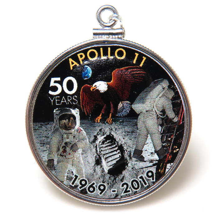 アポロ11号 APOLLO 月面着陸 50周年記念 コイン ペンダント・アメリカ ケネディハーフダラー(50セント) バチカン付「シルバーSV925」(1個)
