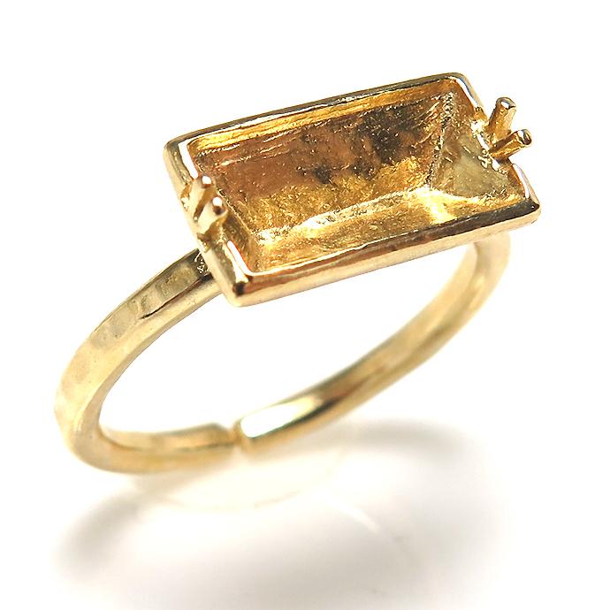 バゲット 指輪 ハンマード リング ゴールドブラス 空枠  2本爪 10×5mm(真鍮ゴールドカラー) 2個
