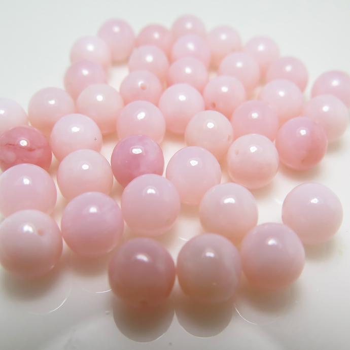 天然石ルース(裸石)ピンクオパール 丸玉 ラウンドボール 片穴 【4mm】(5個)