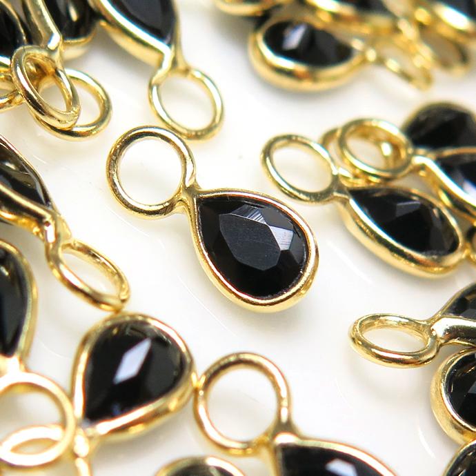 ブラックオニキス 天然石 チャーム・ペンダントトップ ドロップ 雫 9×4mm シルバー925 18金ゴールドプレーテッド ベゼル (6個)