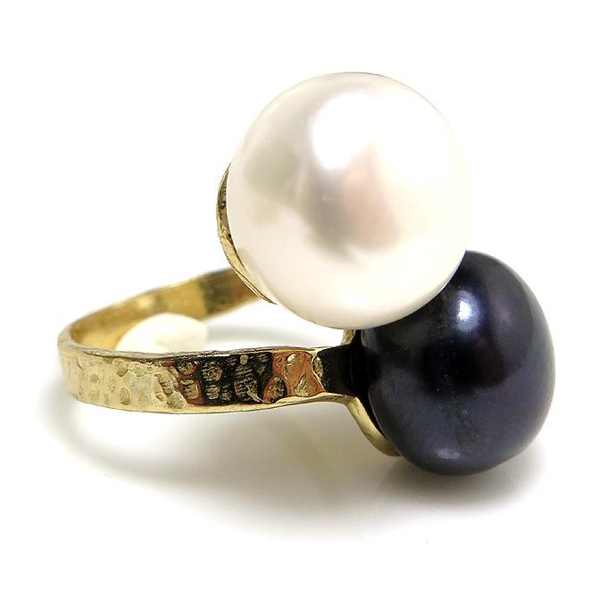 淡水パール(真珠)指輪リング/ハンマード(ボタン・ホワイト系+ダークブルー〜ブラック系12mm×2)(真鍮ブラス・ゴールドカラー)(1個)
