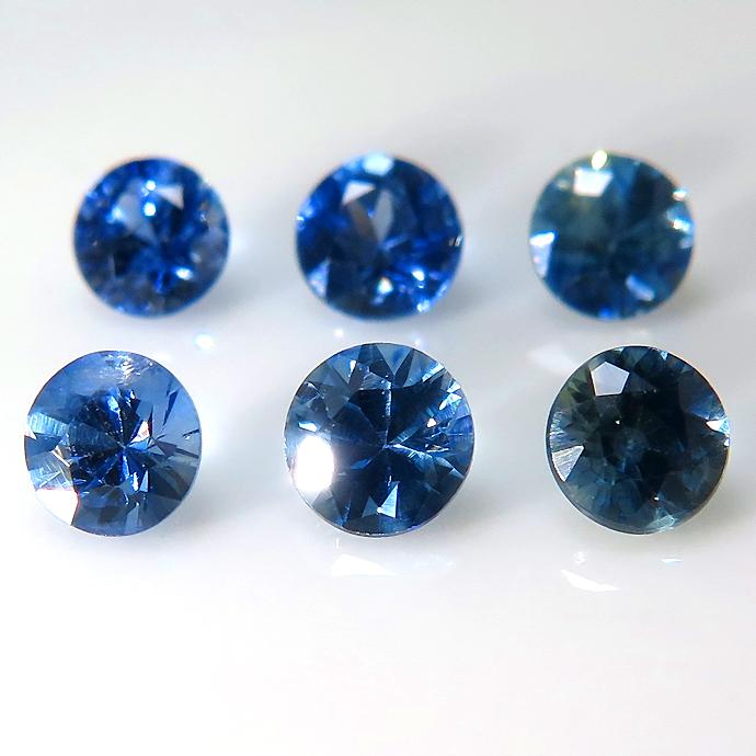 ブルーサファイア ルース 天然石(セイロン・スリランカ産・加熱)ラウンド【3.5mm】ダイヤモンドカット(1個)