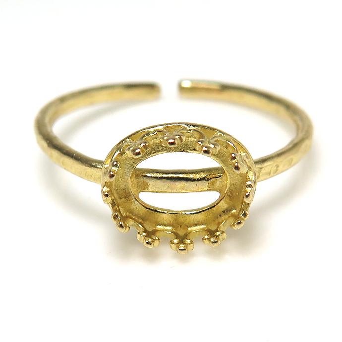 ハンマード指輪リング空枠クラウン(ベゼルセッティング/カボション用)(オーバル横8×6mm)(真鍮ブラス・ゴールドカラー)(4個)
