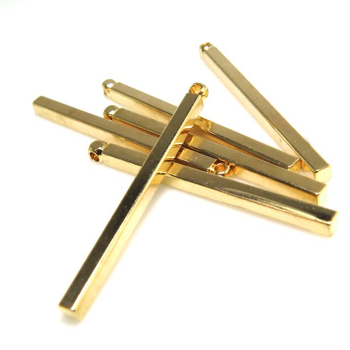 ブラスチャーム バー(1ホール/30mm)(真鍮・ゴールドカラー)(20個)