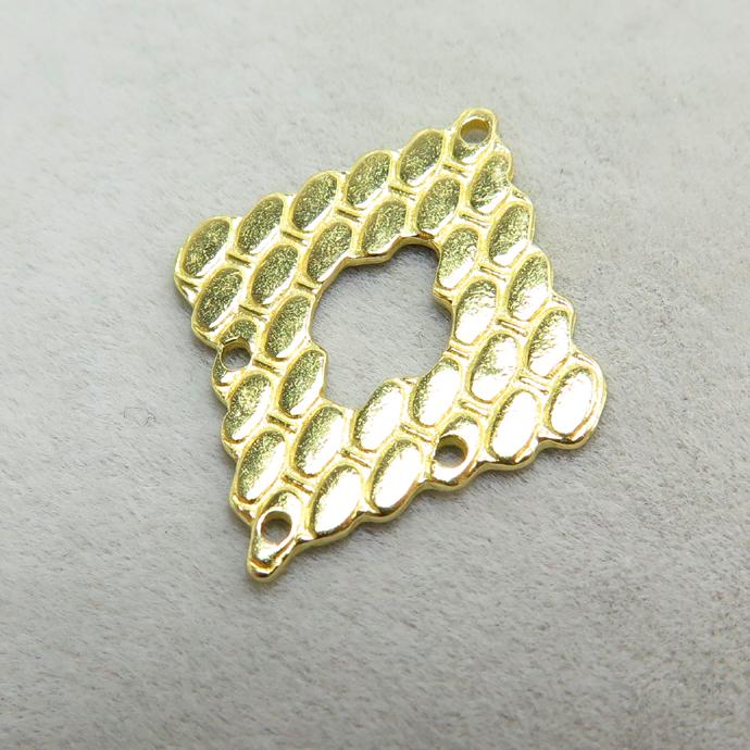 真鍮アクセサリーパーツ コンポーネント 4ホール ブラスパーツ ダイヤ(真鍮・ゴールドカラー)(25個)