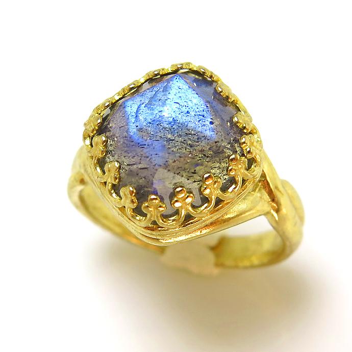 ラブラドライト 天然石リング 指輪  スクエア クッション ローズカット(10mm)(真鍮ブラス・ゴールドカラー)