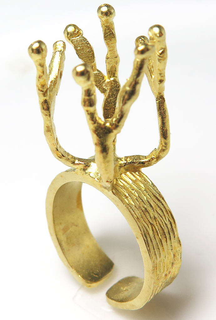 ブランチリング ラフストーン・タンブル~カボション 指輪 空枠 4本爪 20mm×4本 真鍮ブラス・ゴールドカラー(1個)