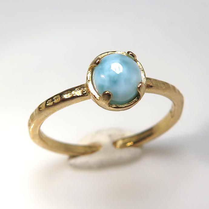 天然石リング 指輪 ラリマー ハンマードリング(4本爪 カボション ラウンド 5mm)(真鍮ブラス・ゴールドカラー)