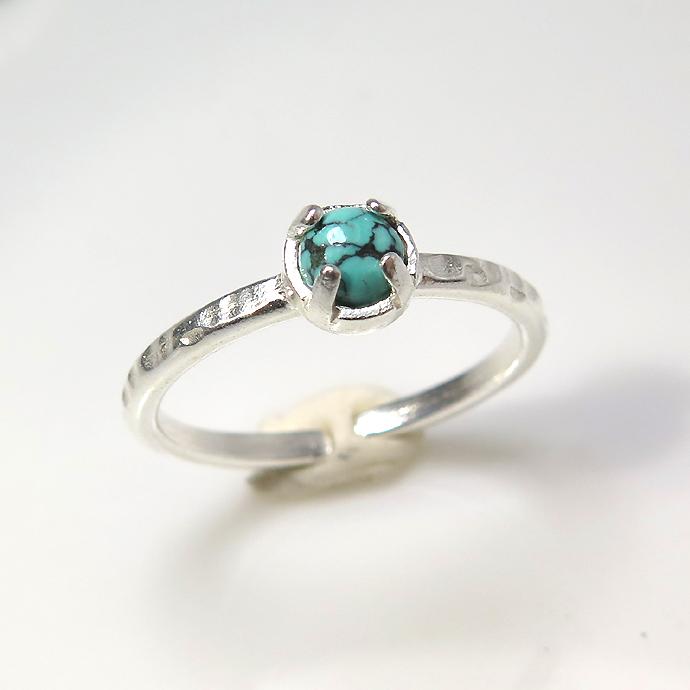天然石リング 指輪 ターコイズ(チベット) ハンマードリング(4本爪 カボション ラウンド 4mm)(真鍮ブラス・シルバーカラー)